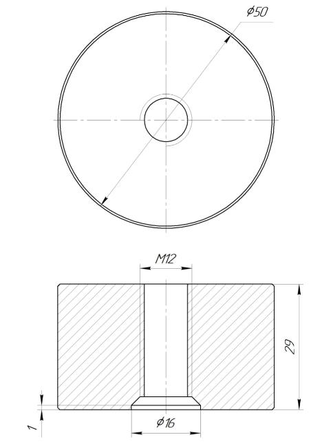 ODF-06-36-01-L30 Дистанція 30 мм для коннектора діаметром 50 мм з різьбою М12, сатин