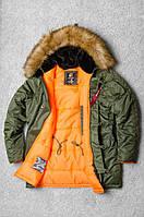 Качественная Чоловіча зимова парка Olymp - Аляска N-3B, Slim Fit, Color: Khaki, зимова куртка