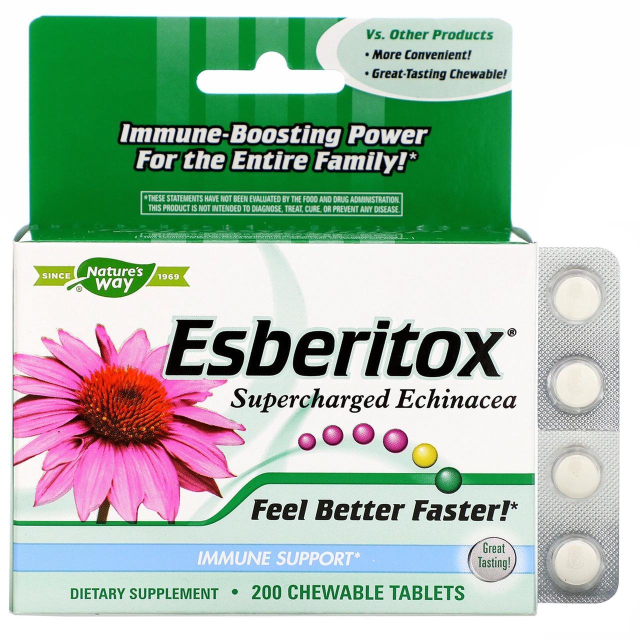 Укрепление иммунитета Esberitox, Enzymatic Therapy, 200 жеват. таблеток