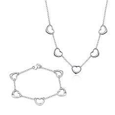 Жіночий комплект біжутерії (кольє, браслет) П'ять сердець покриття срібло 925