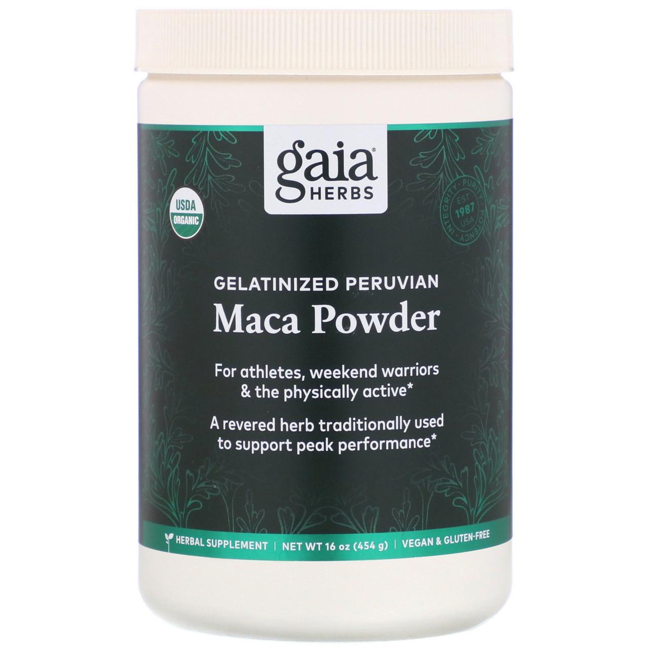 Маку (Maca Powder, Gelatinized), Gaia Herbs, порошок, желатинизированный, 454 г