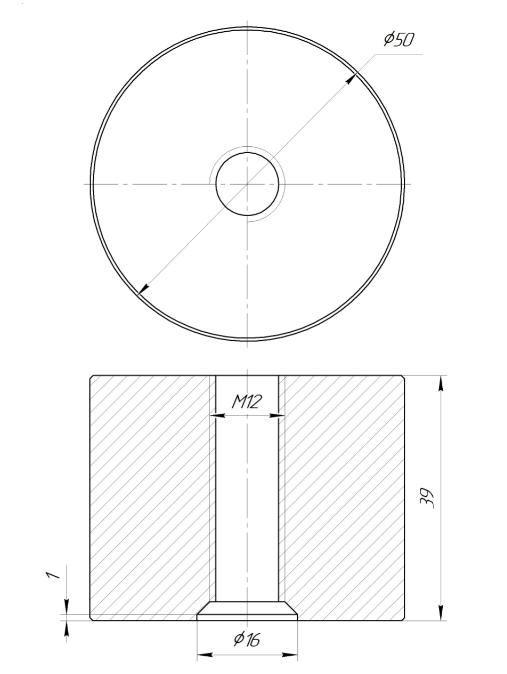 ODF-06-36-01-L40 Дистанция 40 мм для коннектора диаметром 50 мм и с резьбой М12, сатин