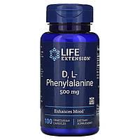 DL-Фенилаланин, Life Extension, 500 мг, 100 капсул.