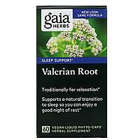 Gaia Herbs, Корень валерианы 60 вегетарианских жидких фито-капсул