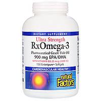 Омега 3 с витамином Д3 1000 МЕ, RxOmega-3, Natural Factors, 150 кап.