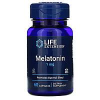 Life Extension, Мелатонин, 1 мг, 60 капсул