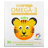 Омега-3 Рыбий Жир для детей, Kids Omega-3 Squeeze Orange Coromega, США