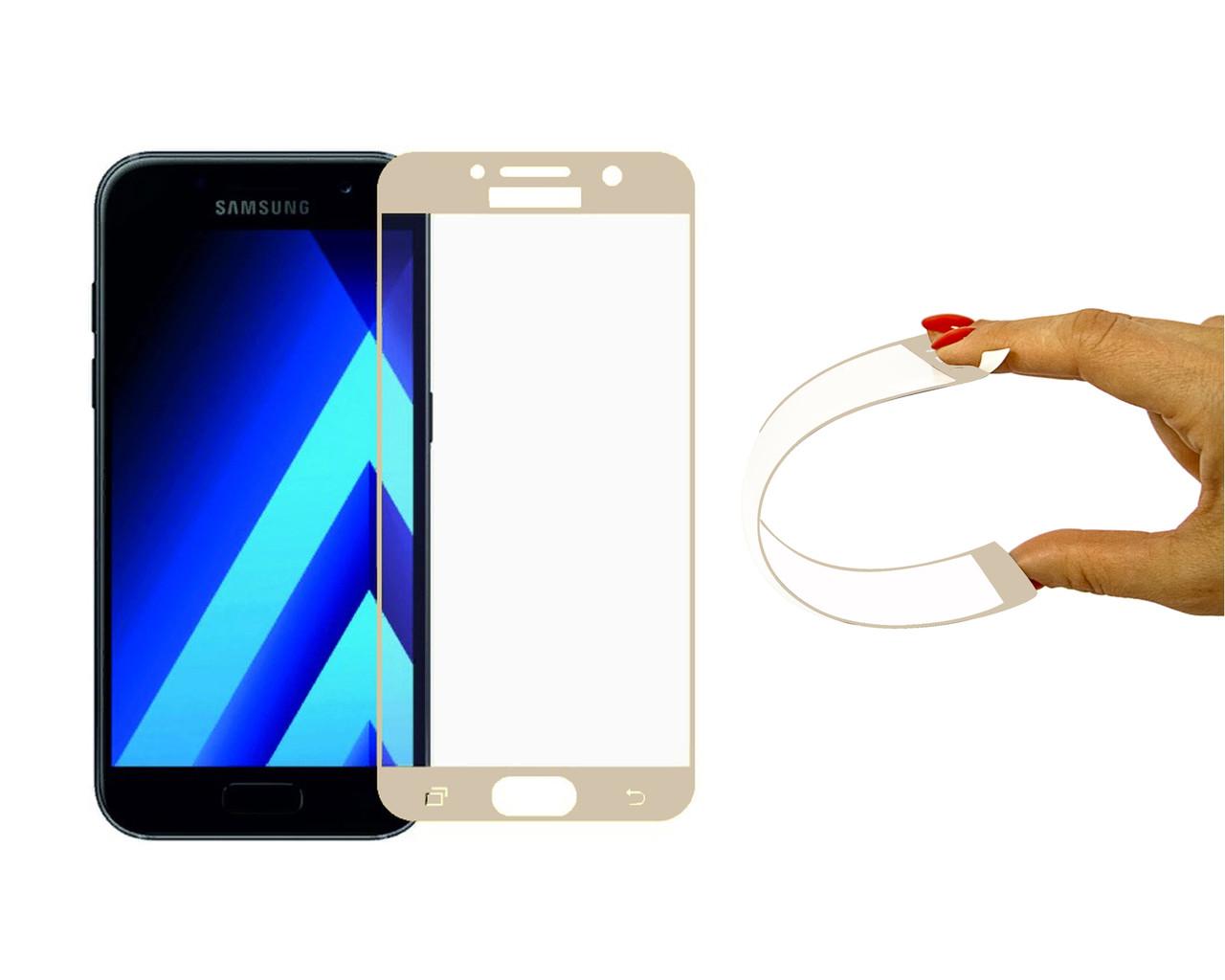 Защитное 5D cтекло Nano Flexible GLASS ITOP для Samsung Galaxy A7 2017 Full Cover Gold