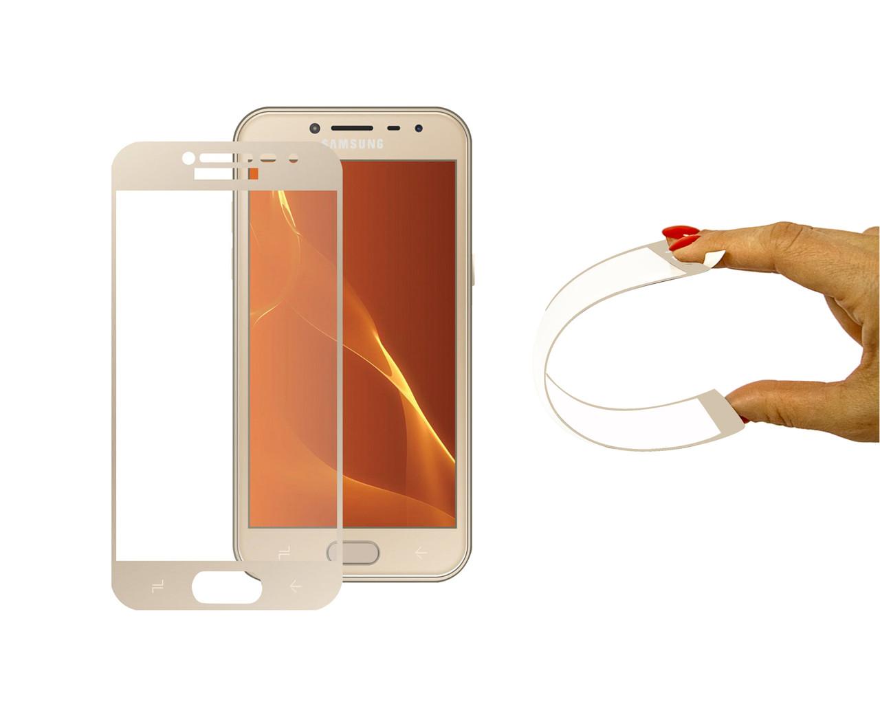 Защитное 5D cтекло Nano Flexible GLASS ITOP для Samsung Galaxy J4 2018 Full Cover Gold