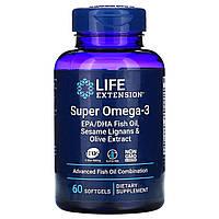 Life Extension, Омега-заряд, cуперомега-3, 60 желатиновых капсул