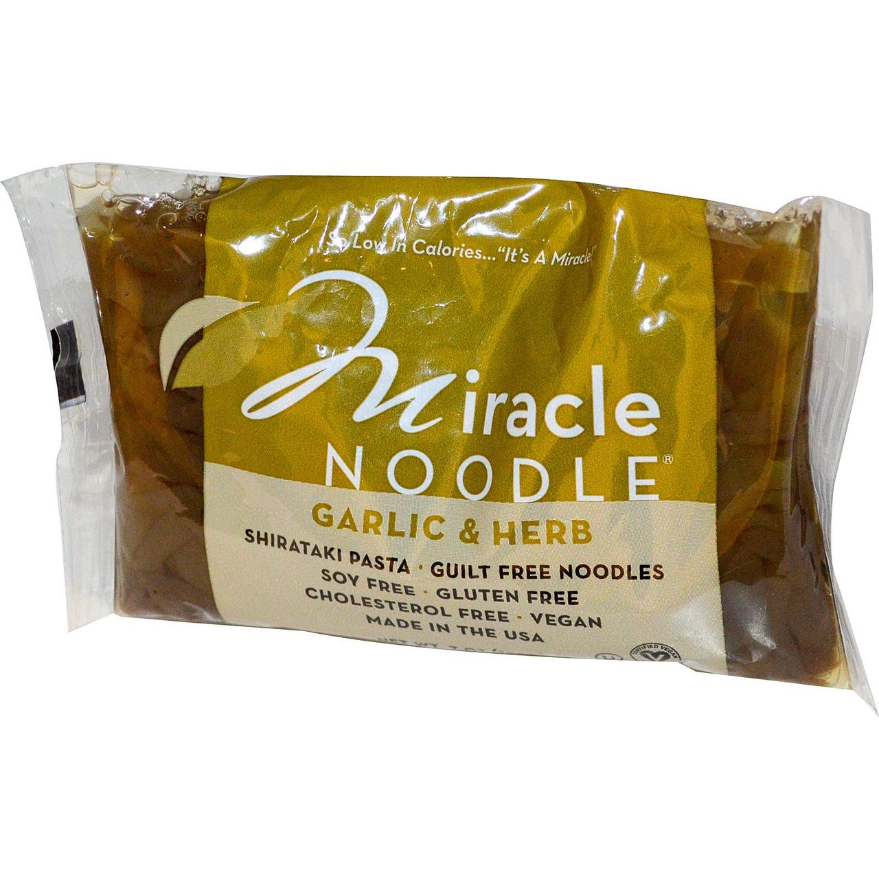 Miracle Noodle, Чеснок и травы, паста Ширатаки, 7 унций (198 г)
