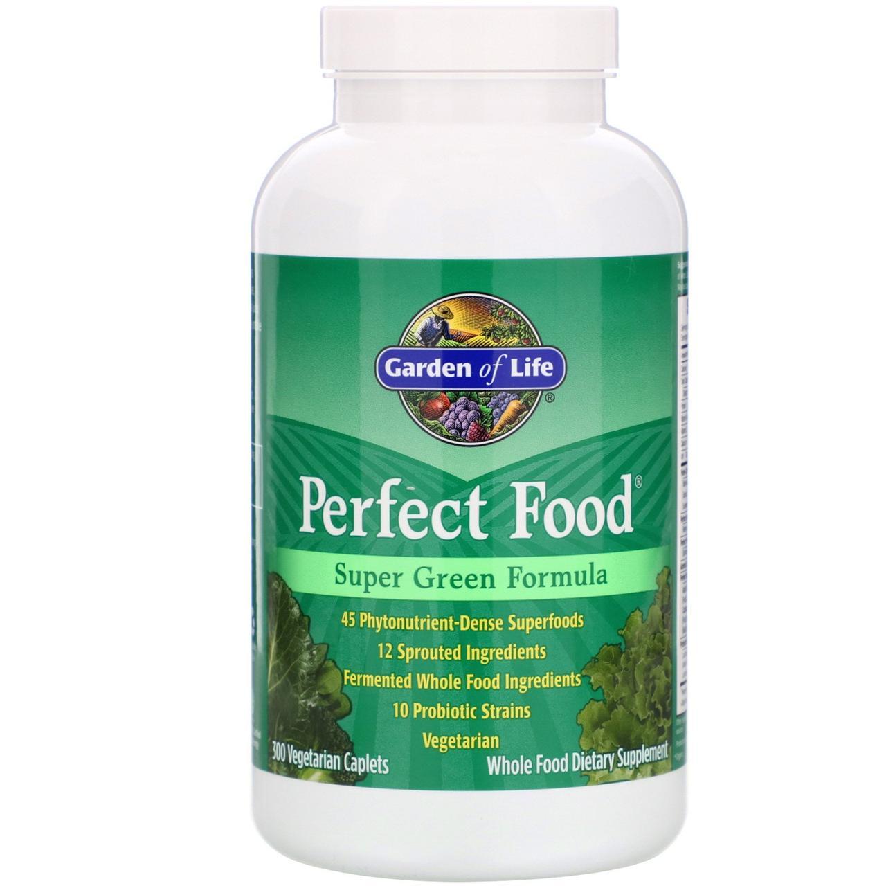 Garden of Life, Идеальная еда, Супер зелёная формула, 300 вегетарианских капсуловидных таблеток