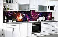 Кухонный фартук Сияние Бабочки пленка скинали ПВХ 600х2500мм Животные Фиолетовый