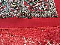 Хустина* етнічна з квітами та українським орнаментом колір червоний розмір 110*110 см