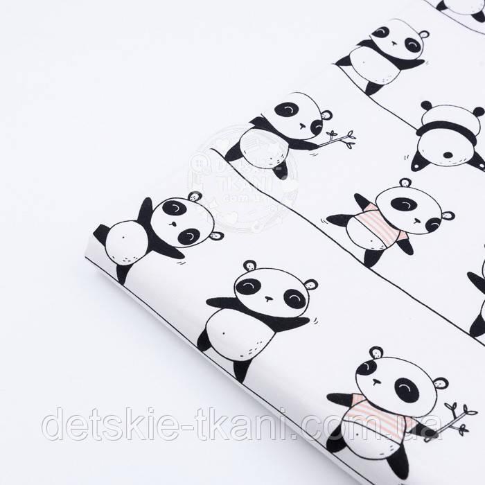 """Клапоть тканини """"Панди на лініях"""" на білому тлі №1227а, розмір 44*134 см"""