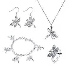 Жіночий комплект біжутерії (кольє, сережки, браслет, кільце) Бабки покриття срібло 925