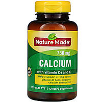 Кальцій 750 мг +D+K, Nature Made, 100 таблеток