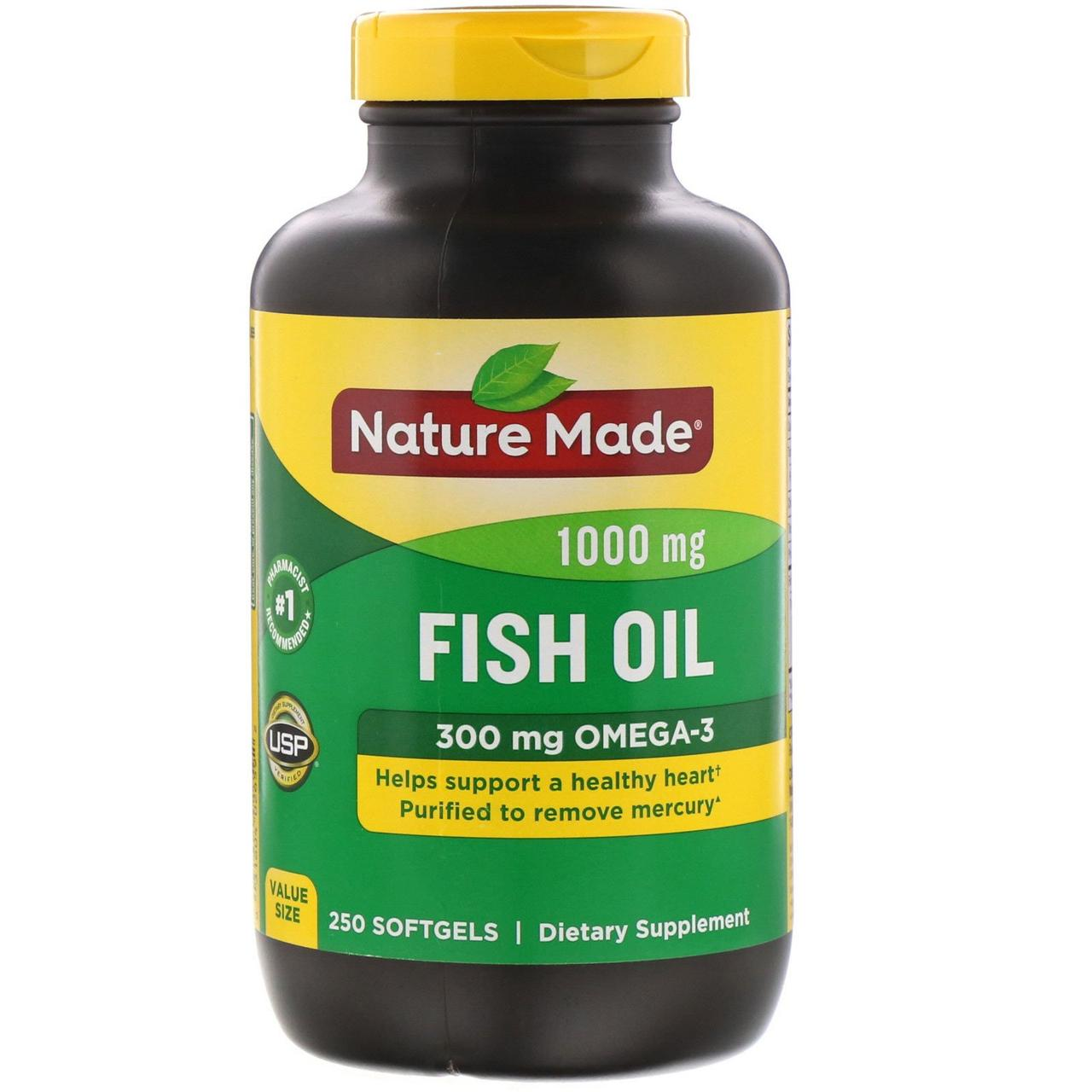 Риб'ячий жир, Омега 3, Fish Oil, Omega-3, Nature Made, 1000 мг, 250 капсул