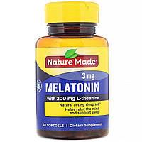 Мелатонін + L-Теанін, Nature Made, 200 мг, 60 капсул