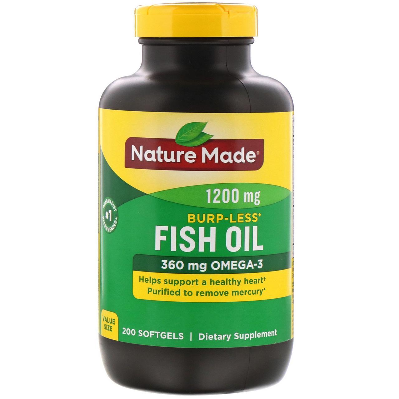 Риб'ячий жир, Омега 3, Fish Oil, Nature Made, 1200 мг, 200 капсул