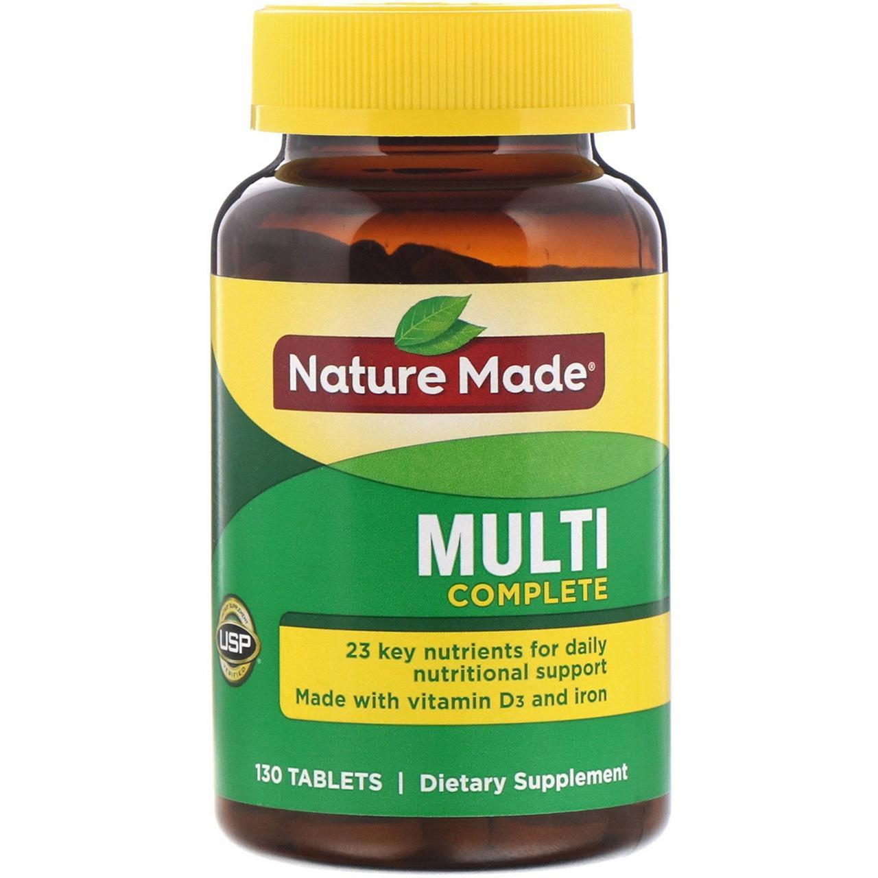 Мультивитамины с железом, Nature Made, 130 таб.