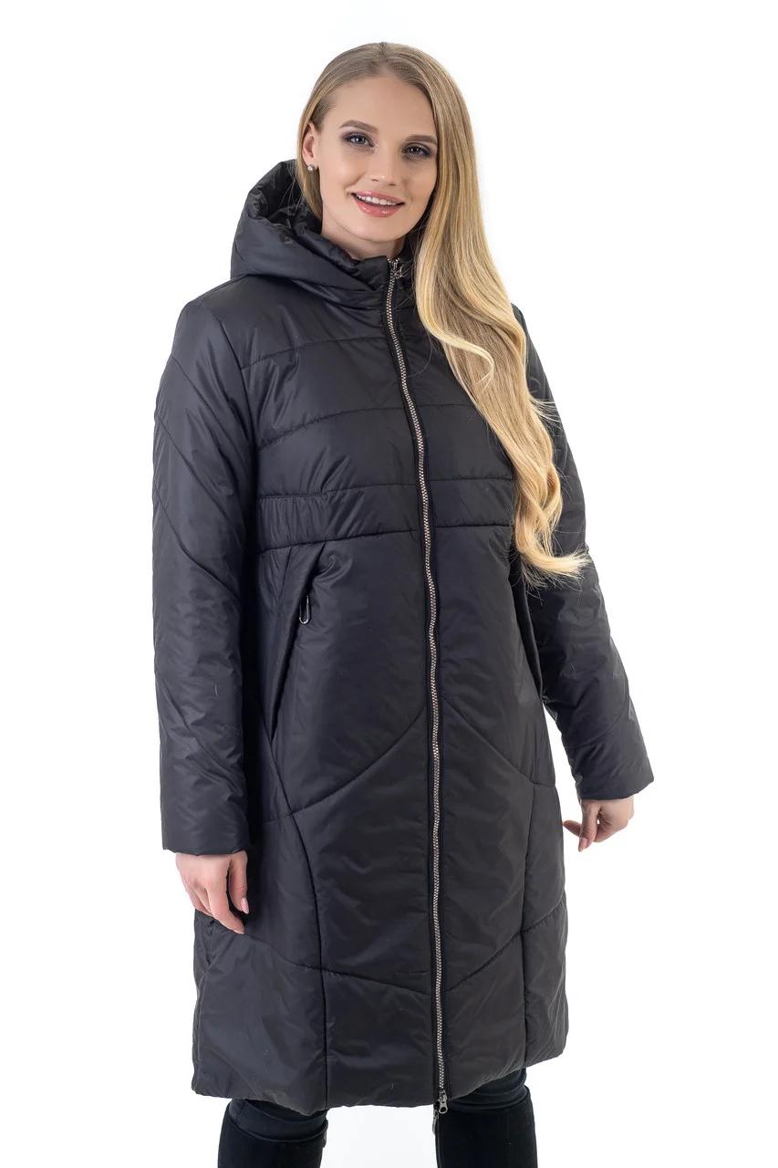 Модные женские куртки  демисезонные большого размера  50-62 чёрный