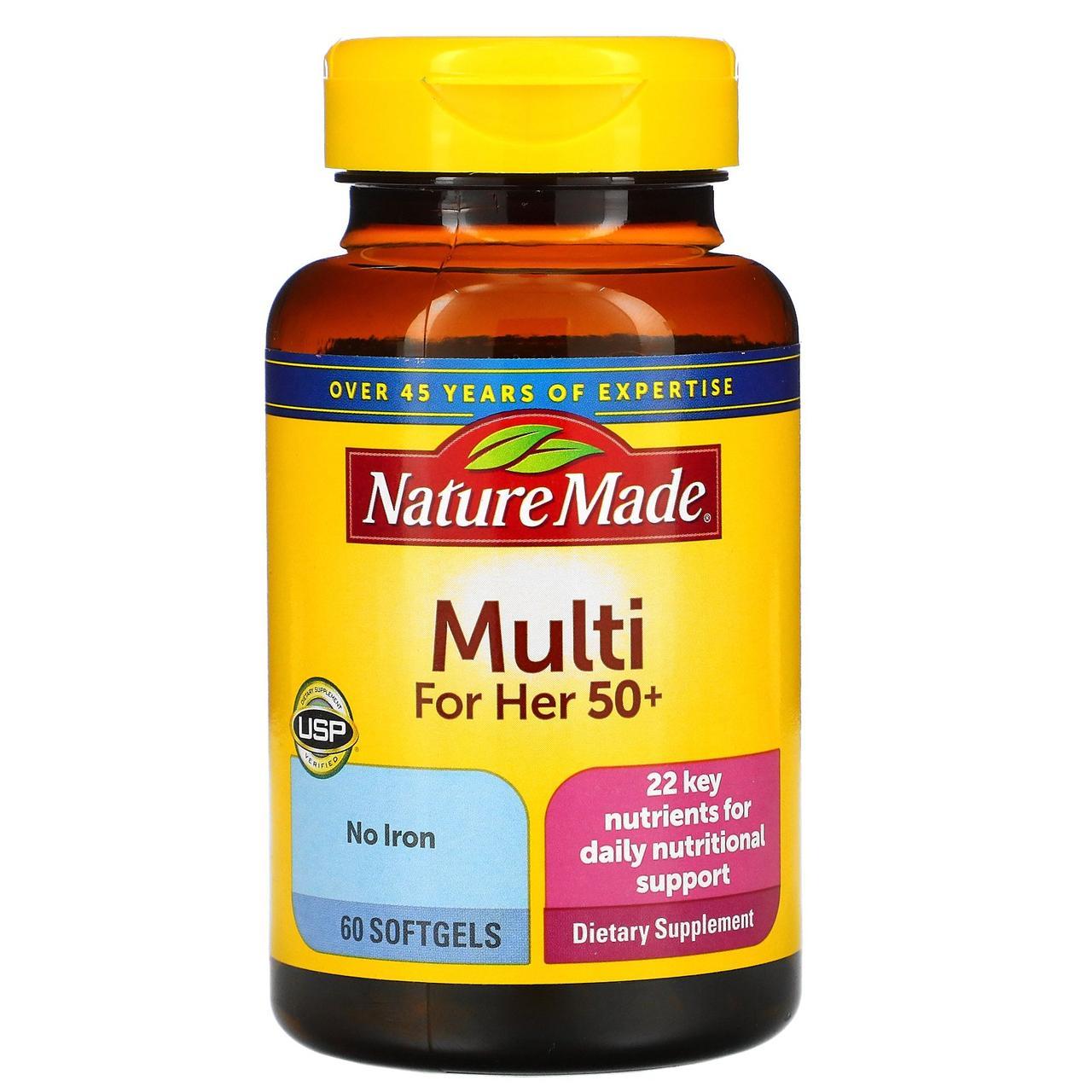 Вітаміни для жінок, Nature Made, 50+, 60 кап.