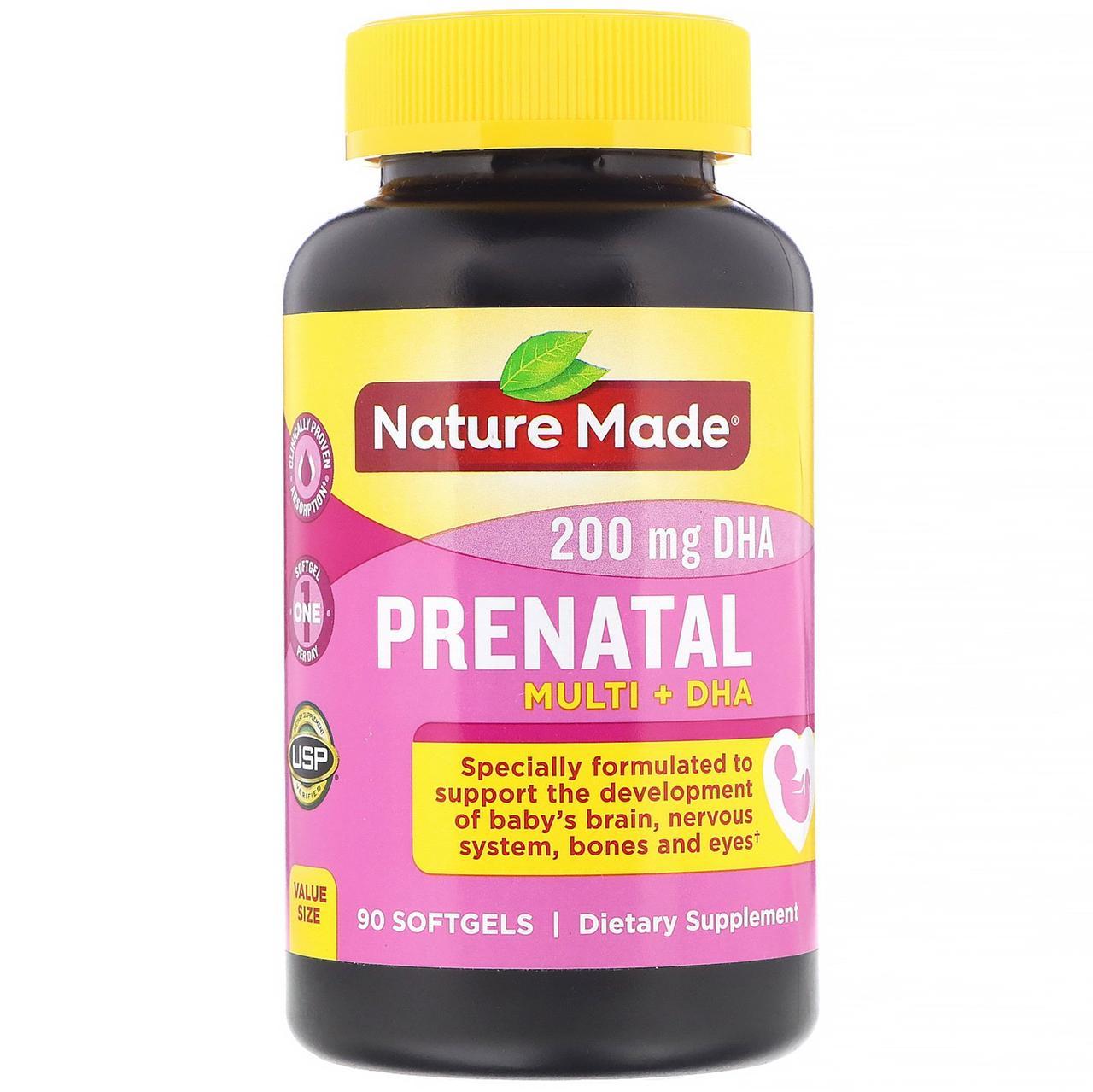 Nature Made, Пренатальные мультивитамины + ДГК, 90 гелевых капсул
