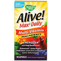 Витамины максимальная эффективность, мультивитамины Natures Way, Alive! Multi-Vitamin, 90 вегетарианских капс, фото 1