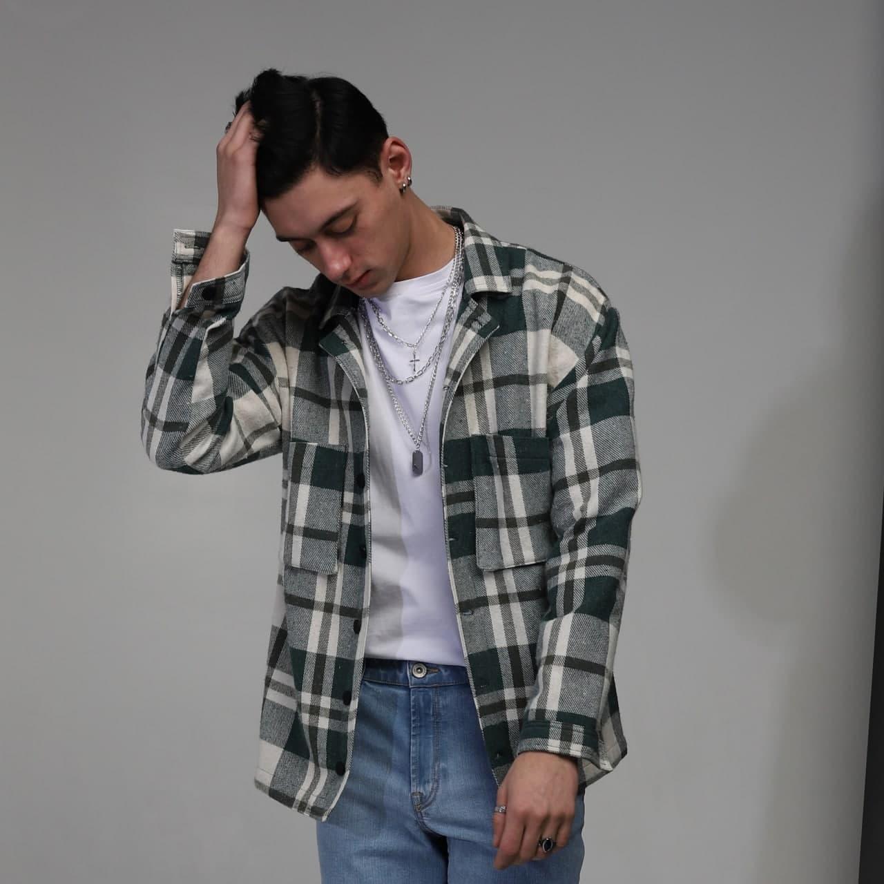 Куртка-рубашка мужская в клетку зеленая с белым Фьюри (Fury) от бренда ТУР