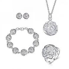 Жіночий комплект біжутерії (кольє, сережки, браслет, кільце) Срібні квіти троянди покриття срібло 925