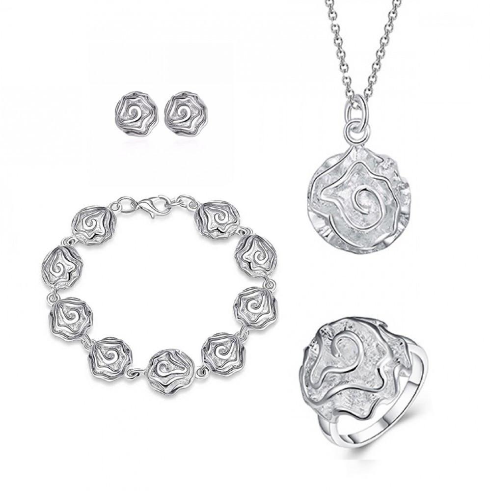 Женский комплект бижутерии (колье, серьги, браслет, кольцо) Серебряные цветы розы покрытие серебро 925