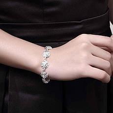 Женский комплект бижутерии (колье, серьги, браслет, кольцо) Серебряные цветы розы покрытие серебро 925, фото 3