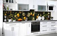 Кухонный фартук Новогоднее украшение Шары пленка скинали ПВХ 600х2500мм Текстуры Зелёный