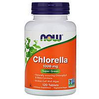 Хлорелла в таблетках, суперфуд, Now Foods, Chlorella, 1000мг, 120 таблеток