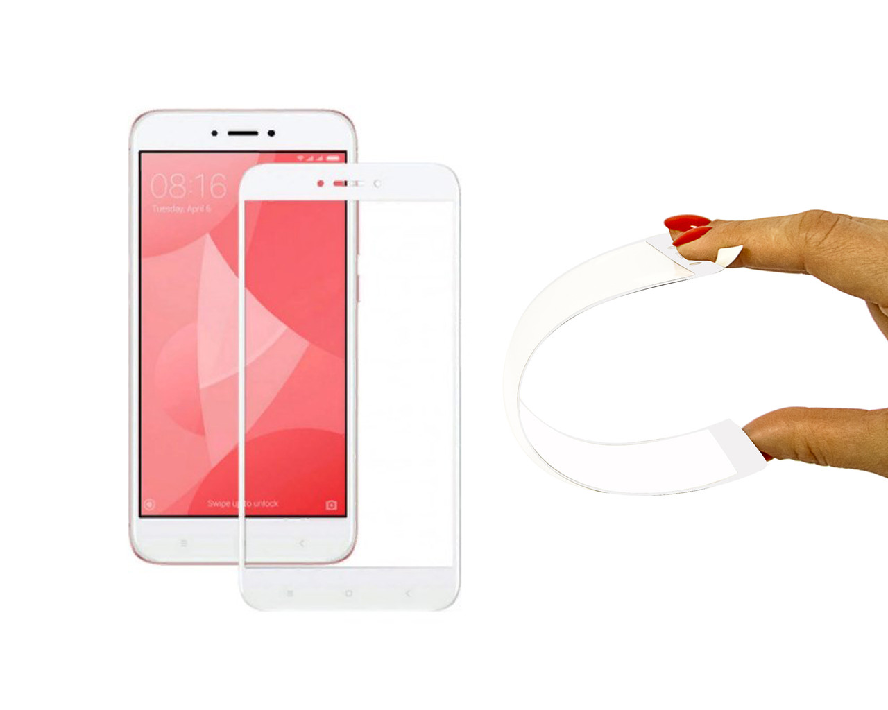 Защитное 5D cтекло Nano Flexible GLASS ITOP для Xiaomi Redmi 5A Full Cover Белый