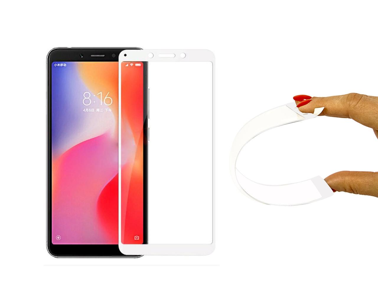 Защитное 5D cтекло Nano Flexible GLASS ITOP для Xiaomi Redmi 6 Full Cover Белый