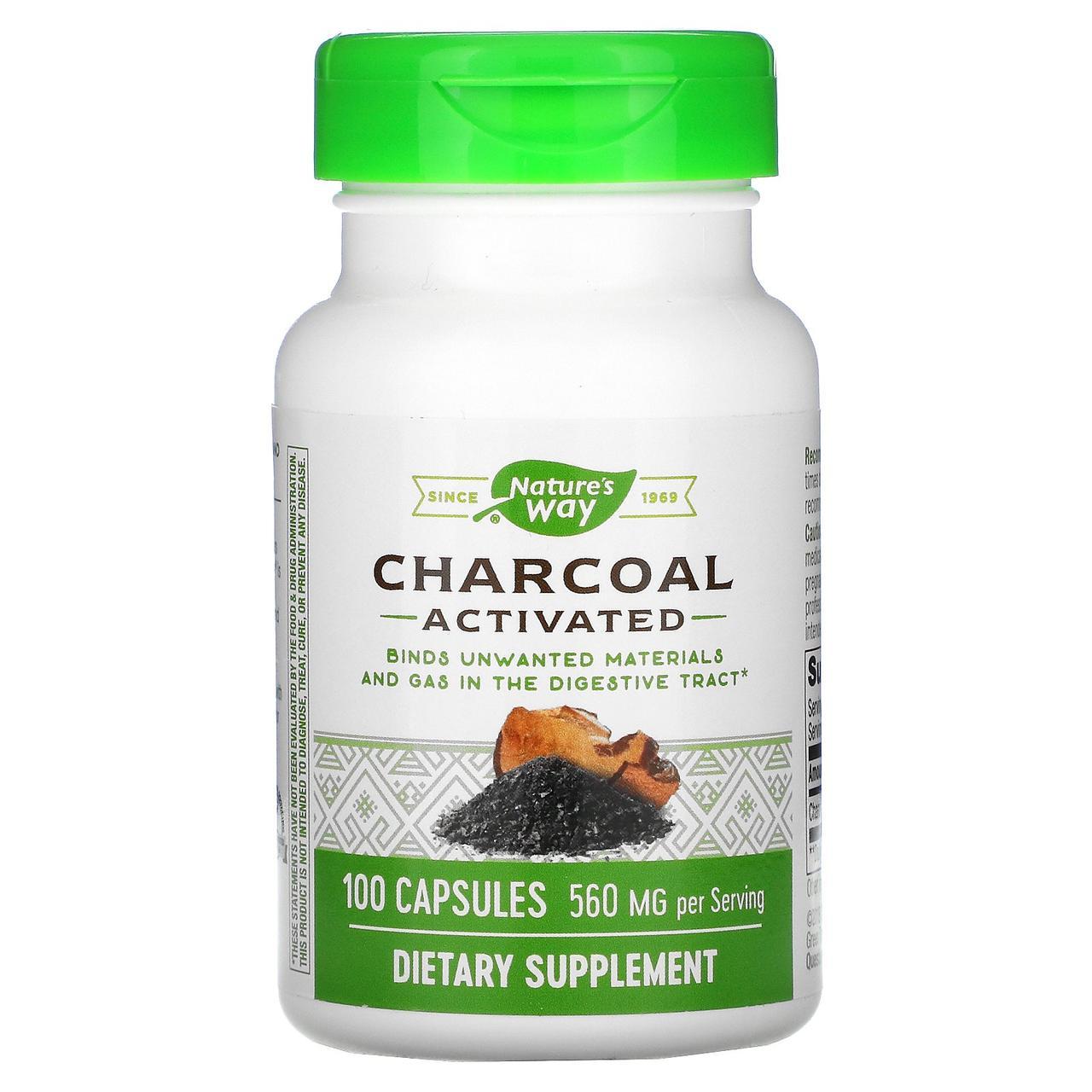 Активированный уголь, Nature's Way, 280 мг, 100 кап.