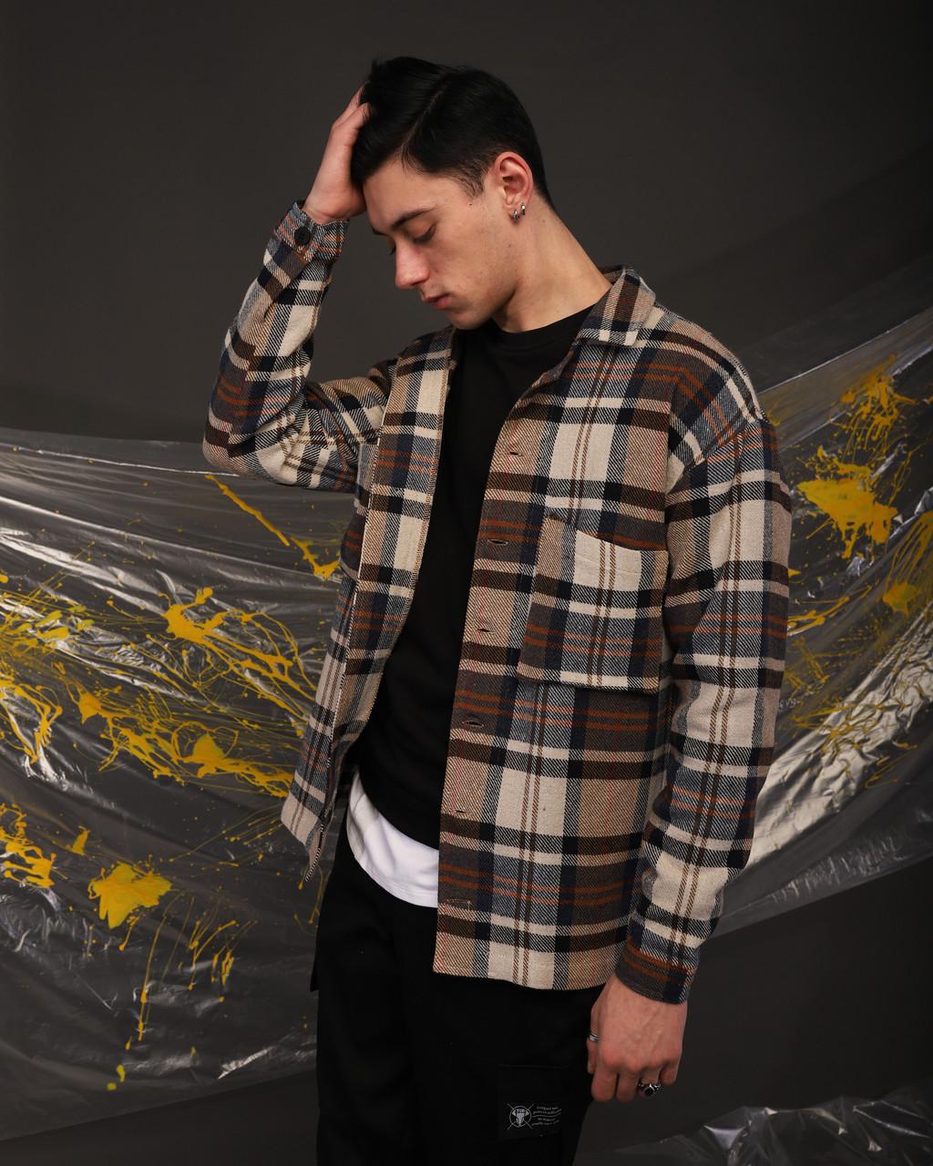 Куртка-рубашка мужская в клетку коричневая с белым Фьюри (Fury) от бренда ТУР