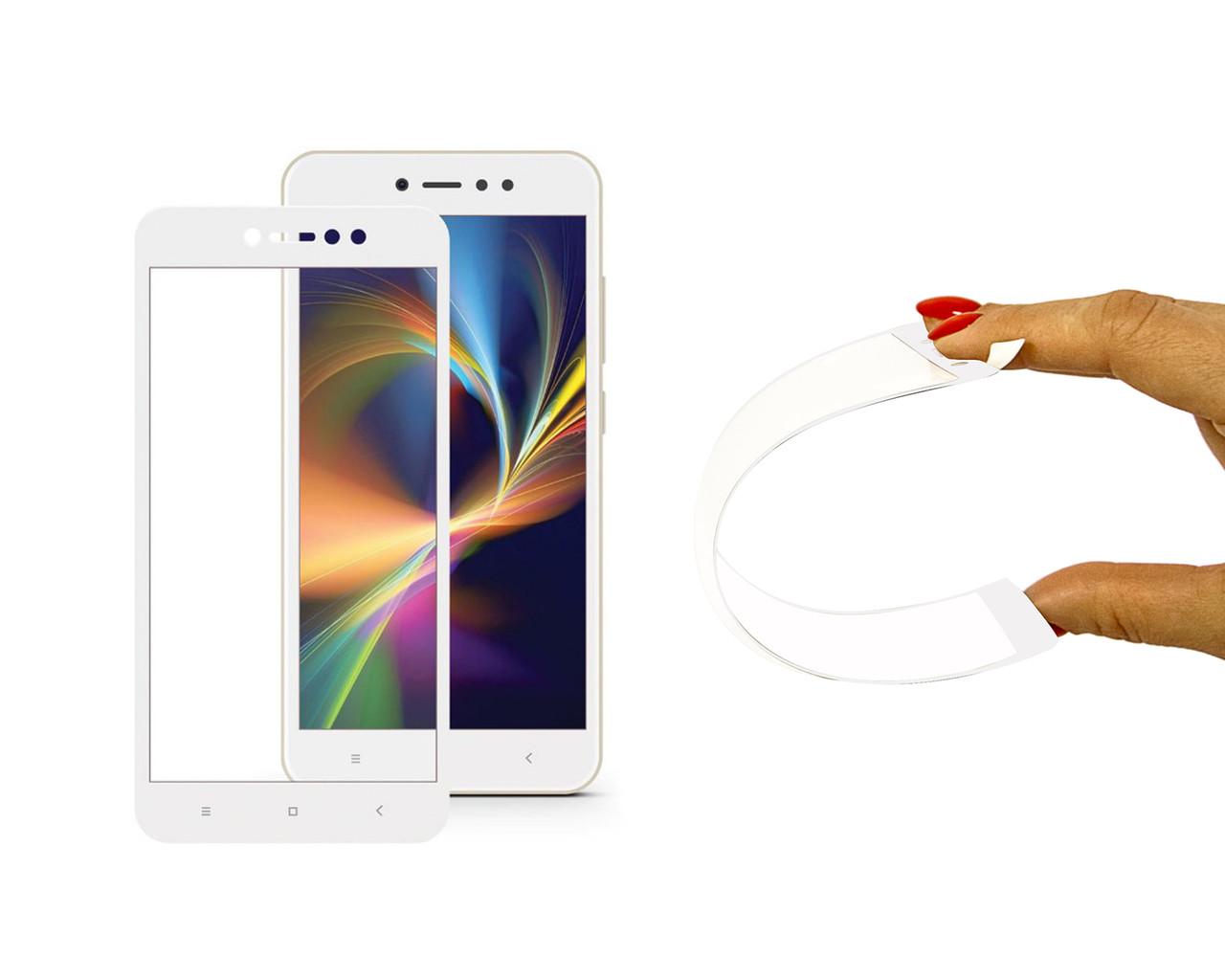 Защитное 5D cтекло Nano Flexible GLASS ITOP для Xiaomi Redmi Note 5A Full Cover Белый