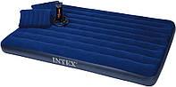 Надувной матрас INTEX 64765 203*152*25 в комплекте насос и 2 подушки