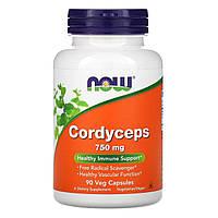 Кордицепс (Cordyceps), Now Foods, 750мг, 90кап.