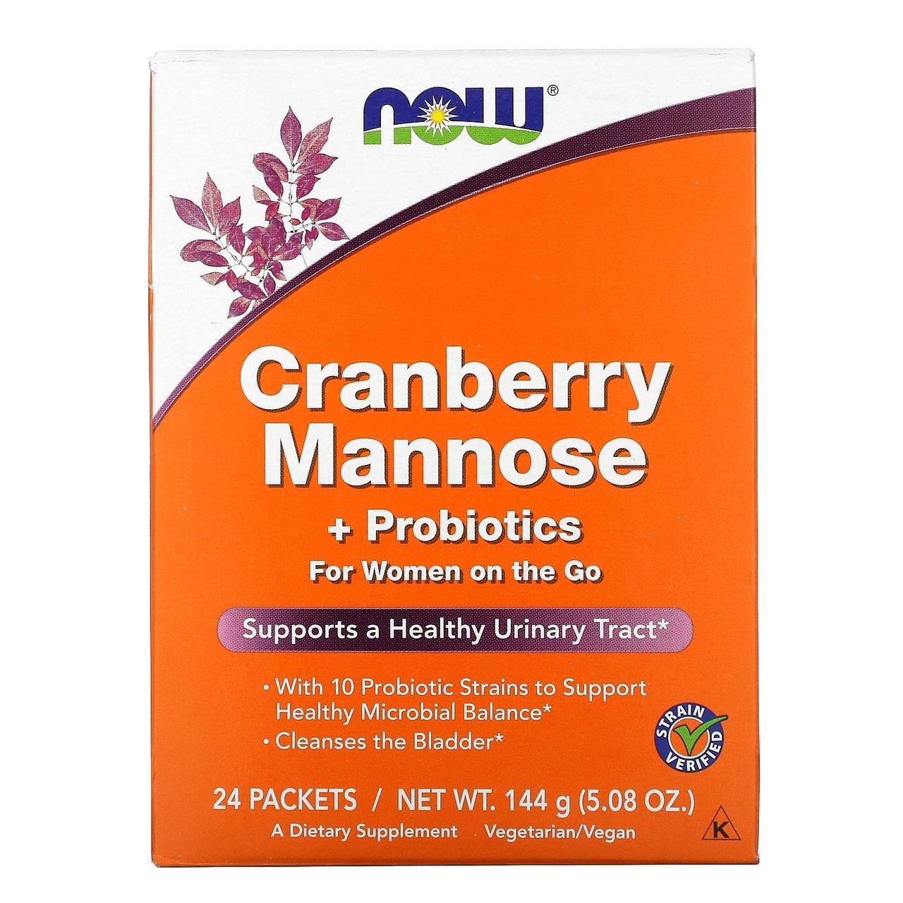 Д-Манноза, Mannose + Probiotics, Now Foods, Клюква и пробиотики,  24 шт, 6 г