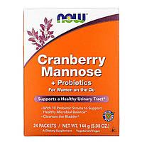 Д-Манноза, Mannose + Probiotics, Now Foods, Клюква и пробиотики,  24 шт, 6 г, фото 1