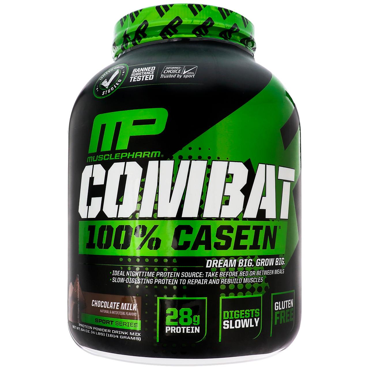 Мицеллярный казеин, (Combat, 100% Micellar Casein Protein), шоколад, Muscle Pharm, 1814 кг