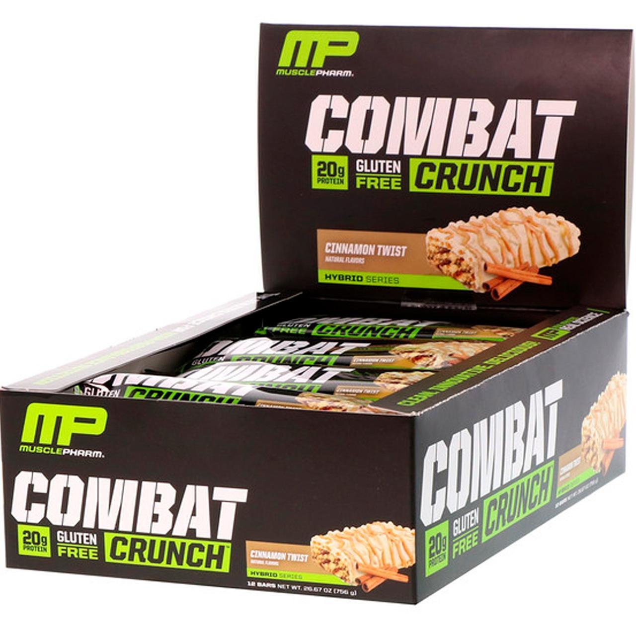Білкові бари, (Combat Crunch), кориця, Muscle Pharm, 12 шт по 63 г
