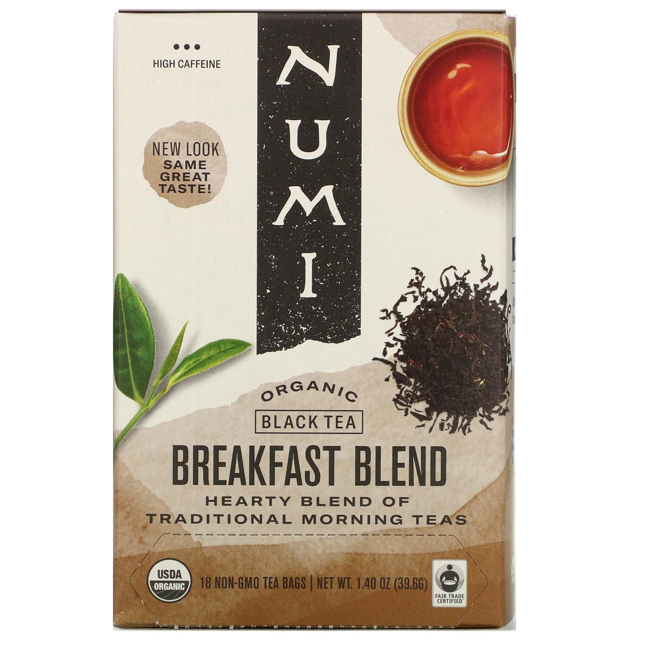 Numi Tea, Organic Black Tea, Breakfast Blend, 18 Tea Bags 1.40 oz Each
