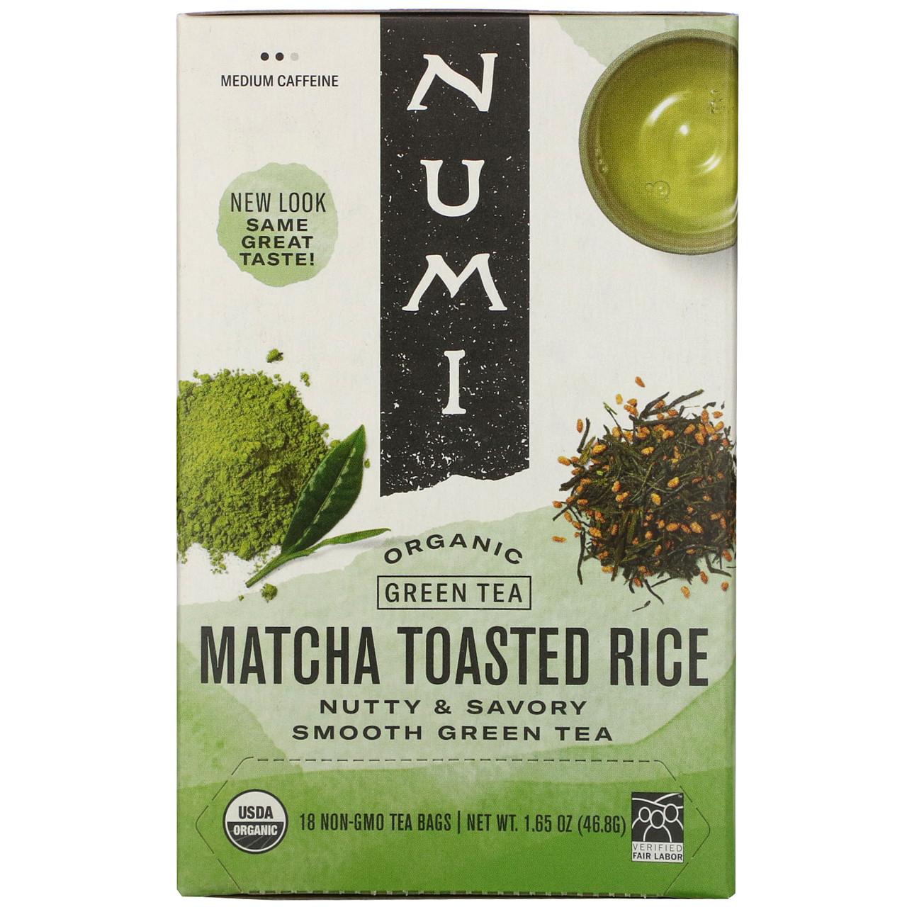Numi Tea, Органічний зелений чай, підсмажений рис, 18 пакетиків, 1,65 унції (46,8 г) кожна