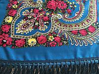 Хустина* етнічна з квітами та українським орнаментом колір темна бірюза розмір 107*107 см