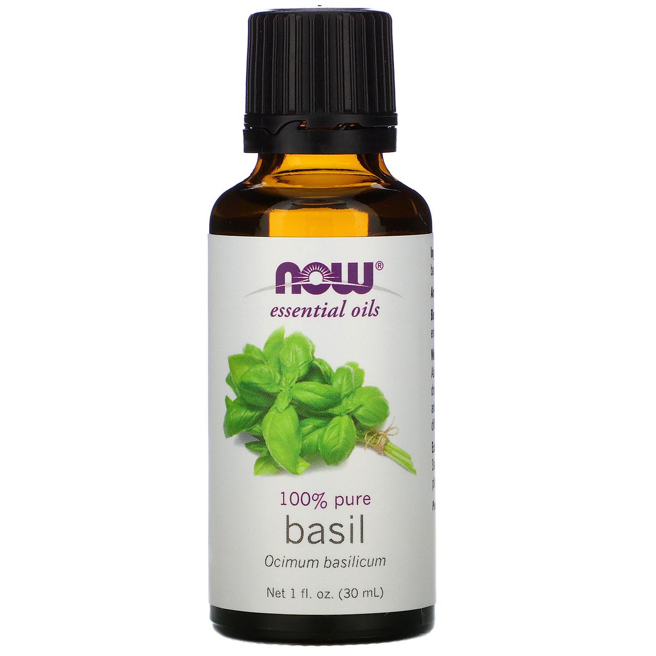 Эфирное масло базилика (Basil), Now Foods, 30 мл.